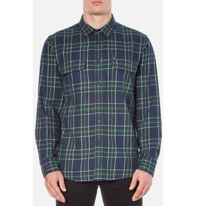 Obey Highland Green Plaid Flannel Medium